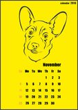 Calendar for 2018 year. Year of the yellow dog. Vector illustration shows Calendar for 2018 year. Year of the yellow dog Stock Photography