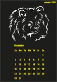 Calendar for 2018 year. Year of the yellow dog. Vector illustration shows Calendar for 2018 year. Year of the yellow dog Stock Photos
