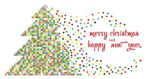 Christmas tree in multi-colored pixels. Vector illustration shows Christmas tree in multi-colored pixels. New Year and Christmas card Stock Photo