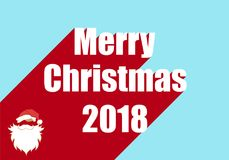 Happy new year 2018. Vector illustration shows New Year and Christmas card. Merry christmas 2018. Santa Claus Royalty Free Stock Images