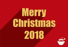 Happy new year 2018. Vector illustration shows New Year and Christmas card. Merry christmas 2018. Santa Claus Royalty Free Stock Photo