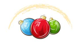 Multicolored christmas balls. Vector illustration shows three multicolored christmas balls Royalty Free Stock Photos