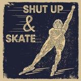 Vector illustration. Shut up and skate. Summer roller skater sport Royalty Free Stock Photography
