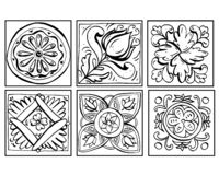 Vector illustration of Sicilian pottery doodles set black and white. Ornaments isolated on white background. Decor royalty free illustration