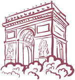 Vector illustration with the sights of Paris. Arc de triomphe Royalty Free Stock Image