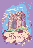 Vector illustration with the sights of Paris. Arc de triomphe Stock Image