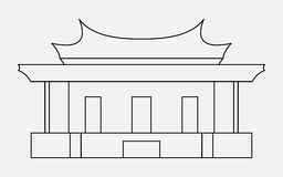 Vector illustration of the sign of Chinese philosophy, thin line icon of the Temple of Confucius Stock Images