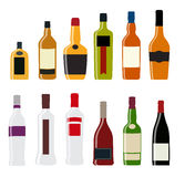 Vector Illustration of Silhouette Alcohol Bottle Stock Images
