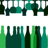 Vector Illustration of Silhouette Alcohol Bottle Royalty Free Stock Images