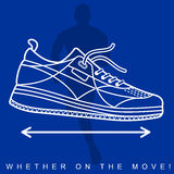 Vector illustration of silhouette of an athlete and sneakers. Sports shoes and runner. Advertisements, brochures, business templates. Isolated on a white stock illustration