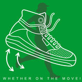 Vector illustration of silhouette of an athlete and sneakers Stock Photo