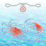 Vector illustration of silhouette crab and shrimp. Stock Photography
