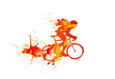 Vector illustration: silhouette of a cyclist racing Stock Photography