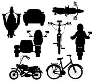 Vector illustration silhouette different transport facilities on white. Black silhouettes of the transport facilities on white background is insulated stock illustration