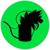 Vector illustration silhouette of a garden watering can Royalty Free Stock Images