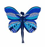 Silhouette of a girl with colorful butterfly wings Royalty Free Stock Photo