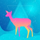 Vector Illustration silhouette of  gradient deer or doe on a blue grain starry backgroud withgeometric triangle and waves. Mystic