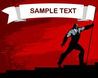 Silhouette of man with banner royalty free illustration