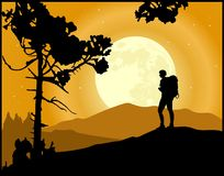 Mountaineering. Silhouette of a active man. Mountain climbing. Hiking vector vector illustration