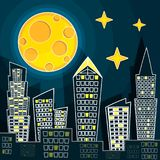Vector illustration of silhouette of night city landscape on dark blue sky background with big moon.