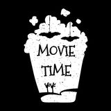 Vector illustration with silhouette popcorn bucket. Movie time Royalty Free Stock Image