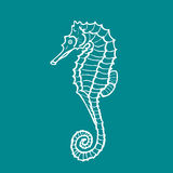 Vector illustration silhouette of seahorse. Hippocampus Royalty Free Stock Photos