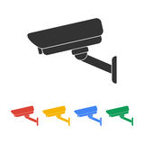 Vector illustration silhouette of surveillance cameras. Stock Image