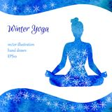 Winter yoga vector illustration. Vector illustration with silhouette of yoga woman with blue watercolor texture and ornament. Winter colors and snowflake Stock Image
