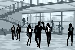 Silhouettes of businesspeople in office vector illustration