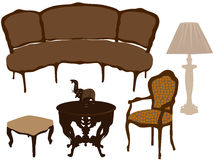 Vector illustration of silhouettes of different re. Silhouettes of different retro furniture Royalty Free Stock Image