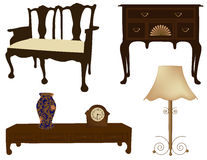 Vector illustration of silhouettes of different retro furniture. Silhouettes of different retro furniture Stock Photo