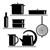 Vector illustration. Silhouettes of kitchen shelves and cooking utensils. Stock Photos