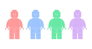 Vector illustration silhouettes of lego men Stock Images