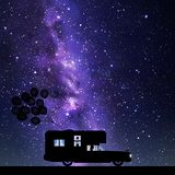Cartoon retro car on road at night. Vector illustration with silhouettes of woman traveling in camper. Family road trip. Space dark background with starry sky royalty free illustration
