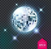 Silver disco ball with lights. Vector illustration of silver disco ball with discotheque lights isolated on transparent background royalty free illustration