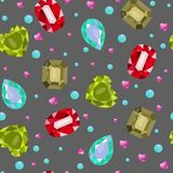 Vector illustration of simles gems pattern. On grey dark background. vector illustration