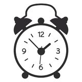 A vector illustration of simple black alarm clock isolated on white background. Old, modern clock silhouette. royalty free illustration