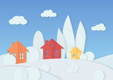 Vector illustration of simple colorful houses placed in minimal trees covered with snow. Winter Christmas village. Cardboard paper landscape. House, mountains Royalty Free Stock Photography