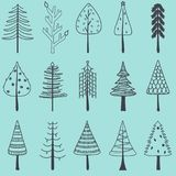 Vector illustration of simple hand drawn Christmas tree, set of. Cute pine tree in different shapes, holiday decorating elements isolated on blue background Royalty Free Stock Photography