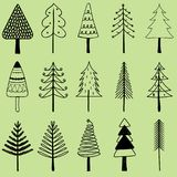 Vector illustration of simple hand drawn Christmas tree, set of. Cute pine tree in different shapes, holiday decorating elements isolated on green background Royalty Free Stock Images