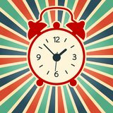 A vector illustration of simple red alarm clock on the vintage background. Old, modern clock silhouette. vector illustration