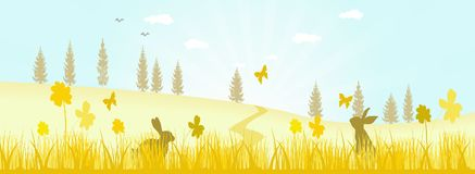 Fields Of Gold. Vector Illustration of a simple spring landscape Stock Image
