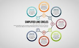 Simplified Line Circles Infographic Royalty Free Stock Images