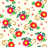Vector illustration of simply red flowers pattern. Red and yellow flowers, green leaves and pink hearts on pastel background. Seamless pattern Royalty Free Stock Photo