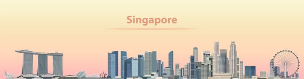 Vector illustration of Singapore city skyline at sunrise. Illustration of Singapore city skyline at sunrise stock illustration