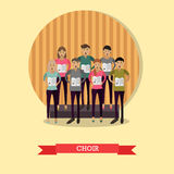 Vector illustration of singing choir in flat style Stock Image