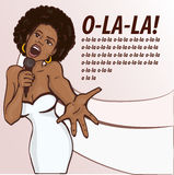Vector illustration of a singing woman . Stock Photo