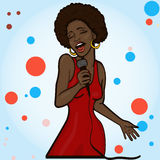 Vector illustration of a singing  woman . Stock Images