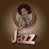 Vector illustration of a singing  woman . Royalty Free Stock Image