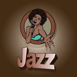 Vector illustration of a singing woman . Stock Photos